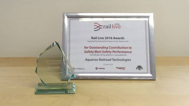 Aquarius Rail Winners of Outstanding Contribution to Safety Rail Live Awards 2016